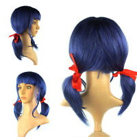 Women Synthetic Fiber Cosplay Full Wigs Short Double Ponytails Straight w/Ribbon