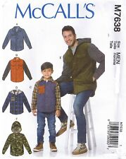 Mens Button Front Up Down Lined Jacket Hood Option Sewing Pattern S M L XL 34-48