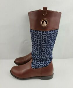 Tommy Hilfiger Youth Girl Size 3 Brown Blue Andrea Jaelyn Knee High Zipper Boots