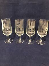 Set Of 4 Water Goblets Etched Frosted Goose Guail Mallard Duck Dove Hunting NWOT