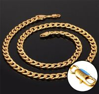 18k Yellow Gold Necklace Women's Men's Cuban Curb Link Chain + Gift Pkg D293
