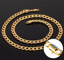 18k Yellow Gold Necklace Women's Men's Cuban Curb Link Chain Gift Pkg D293