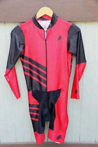 Hincapie Red Black Long One Piece Edge TT Skinsuit Bib Short Jersey Combo SZ M