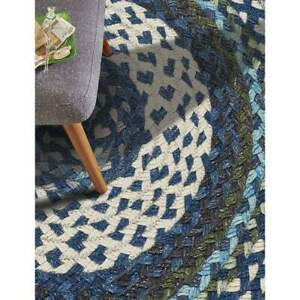 Capel Rugs Drifter Wool Blend Country Cottage Deep Blue Multi Round Braided Rug