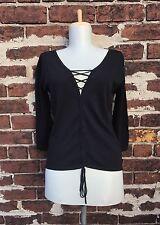 Tuzzi sz 4 European High End Designer 90s Black Lace Up Knit Top Blouse Sweater