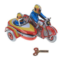 Vintage Wind Up Riders on Motorcycle w/ Sidecar Clockwork Tin Toys Gifts