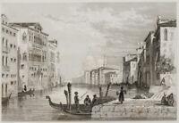 E.ROUARGUE (19.Jh), Blick entlang des Canal Grande in Venedig, um 1850, Stahlst