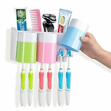 Wall Mounted Toothbrush Toothpaste Holder+3 Cups Tumbler Bathroom Accessory Sets