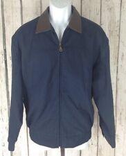 Union Line~mens M~Harrington Jacket Leather Collar Navy Blue Duck Cotton Bomber