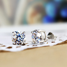 Lady 6mm Round White Gold Filled+S925 Made With Swarovski Crystal Stud Earrings