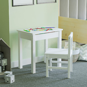 Aries Kids Table Desk Chair Set Workstation Storage Playroom Solid Pine White