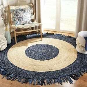 Rug Natural Jute & Cotton Braided Style Floor Area Carpet Modern Living Rugs