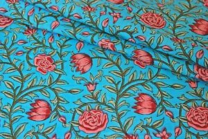 Turquoise Floral 100% Cotton Indian Hand Block Print Dress Material Craft Fabric