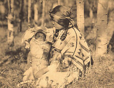 "EDWARD CURTIS Indian  ""ASSINIBOIN MOTHER & CHILD"" Native American Book Print"