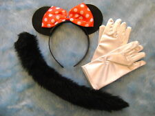 Minnie Mouse Ears/Tail Set & White Gloves Fancy Dress