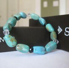 Silpada Turquoise and Obsidian Glass Stretch Bracelet - EUC