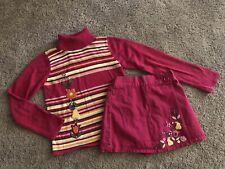 Vintage Gymboree Striped Floral Sequin Turtleneck Faux Wrap Skort/Skirt 7 Girls