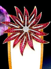 MASTERPIECE CROWN TRIFARI RUBY RED INVISIBLY SET GLASS POINSETTIA FLOWER BROOCH