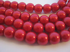 50 Red Pearl Beads (8mm) Xmas Valentine's Day Jewellery Making Beads Crafts