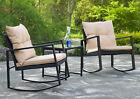 Patio Furniture Bistro Table Chairs Set 3 Pcs Wicker Rocker Front Porch Garden