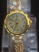 Cronx, Tennis Bracelet Watch Cubic Zirconia Stone,Two Tone Face Quartz Work Fine