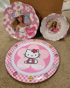 VINTAGE BARBIE - MATTEL PINK BARBIE PLATE BOWL ZAK DESIGNS + Hello Kitty plate