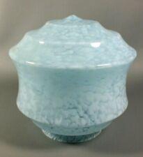 Antique Art Deco Blue Motled Glass CLICHY French Bauhaus Lamp Shade 1930s