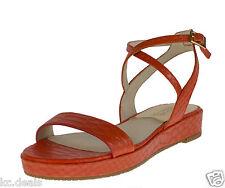 Michael Kors Womens Mandarin Orange Kaylee Flat Leather Sandal Shoes Ret N Medium 6