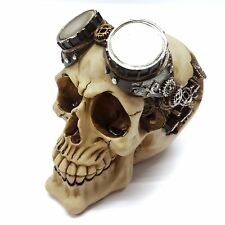 STEAM PUNK SKULL SKELETON WITH GOGGLES AND COGS GOTHIC ORNAMENT FIGURINE SKULL3