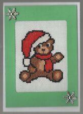 Handmade Card  Christmas Crosstitched  Santa Bear