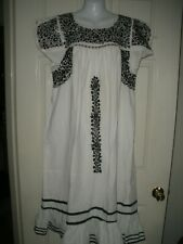 #973 70s Oaxacan Dress Little People Vintage Mexican  Hippie Black White M