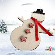 DIY Wooden Snow Man Ornaments Hanging Pendant Gift Chips Crafts Christmas Decor