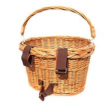 Colorbasket 01594 Adult Front Handlebar Wicker Bike Basket with Handle, 3 Velcr