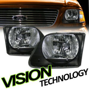 For 97-03 F150/F250/Expedition Euro Black Clear Headlight Headlamps Lamps KS V2
