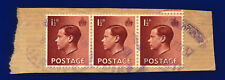 1936 Sg459 1½d Red-Brown Strip of 3 on Piece Good/Fine Used cprs