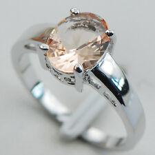 Morganite Silver Filled Gemstone Ring Size 5 PR15