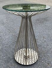 Ethan Allen Radius Collection Glass Wire Form Table w/ Chrome & Nickel Finish