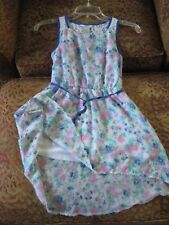 GUESS Kids beautiful lined hi-low floral dress sz 7 blue/pink/white