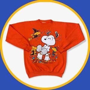 Vintage Peanuts Snoopy Orange Sweatshirt 3D Front Graphic | Size Men's Small