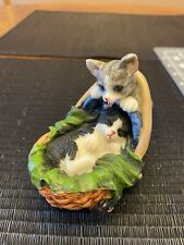 Cat Taking His Friend For A Stroll in a Basket Figurine Adorable!