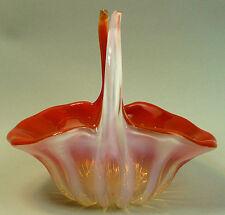 VINTAGE MURANO ORANGE & OPAQUE ART GLASS BASKET 1960's