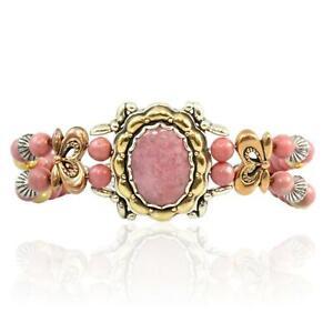 Sterling Silver, Brass, Copper, Rhodochrosite Bracelet
