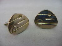 Cool Modernist Design Gold Tone Vintage Mens Cufflinks Jewelry
