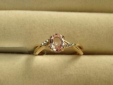 Natural Sakaraha Pink Sapphire & White Zircon 10K Yellow Gold Ring Size N-O/7