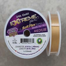 Soft Flex 24k Gold Medium Beading Wire, 30 Foot Spool