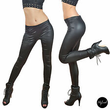 ☆ TOLLE LEGGINGS HOSE SATIN MATT EFFEKT LEDER OPTIK WETT LOOK SCHWARZ ☆ S/M ☆