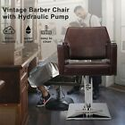 Deluxe Hydraulic Leather Barber Chair Hair Styling Beauty Salon Heavy Duty Brown