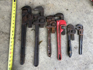 Lot Of 6 VINTAGE Monkey Pipe Wrenches Adjustable Wrenches WORTH STEELCRAFT