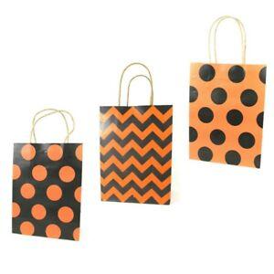 LDW 9 Orange Black Assorted Kraft Handle Paper Party Favor Wedding Gift Bags