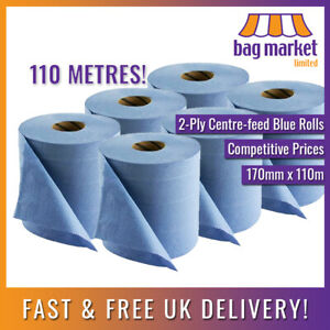 12 x Ex-Large 2-Ply Centre-feed Blue Rolls 110m! | Paper Towel/Gym/Tissue/Wipes